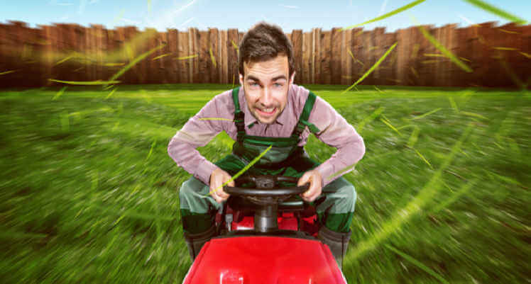 funny image of speed mowing lawn
